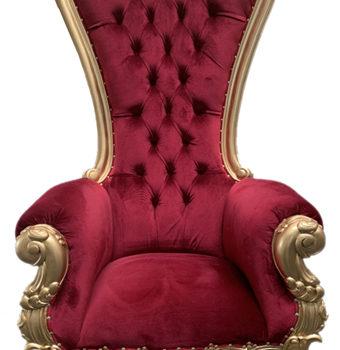 Fauteuil Père Noël 202 cm Acajou doré tissu rouge velours